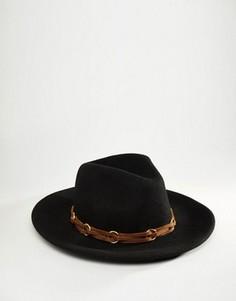 Мягкая фетровая шляпа с тесьмой из искусственной кожи ASOS - Черный