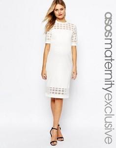 Облегающее платье для беременных с решетчатой вставкой ASOS Maternity - Кремовый