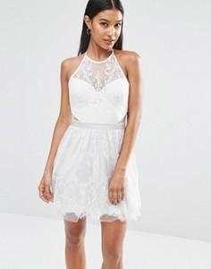 Кружевное платье мини для выпускного Ariana Grande for Lipsy - Серебряный