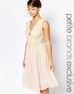 Платье для выпускного с глубоким декольте и кружевным лифом John Zack Petite - Кремовый