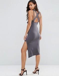 Облегающее платье миди с драпировкой и перекрестными бретельками ASOS - Серый