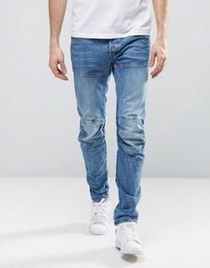 Светлые потертые узкие джинсы G-Star Elwood 5620 3D - Синий