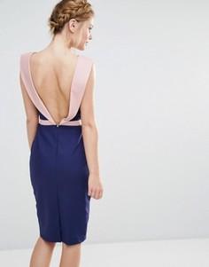 Платье миди с отделкой в стиле смокинга сзади Paper Dolls - Темно-синий