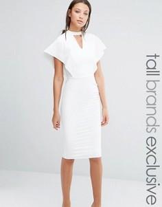 Облегающее платье с вырезом капелькой и рукавами-бабочкой Alter Tall - Кремовый