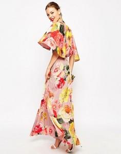 Платье макси со складками и драпированной спинкой ASOS WEDDING - Мульти
