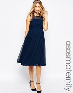 Платье миди для беременных с оборкой ASOS Maternity WEDDING - Темно-синий