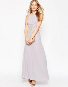 Вечернее платье макси с кружевной вставкой ASOS - Фиолетовый