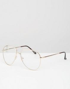 Очки в металлической оправе с прозрачными линзами ASOS - Золотой