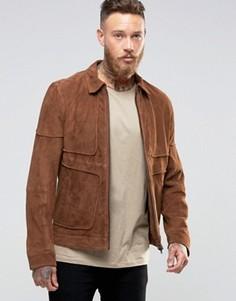 Замшевая куртка в стиле вестерн с окантовкой ASOS - Рыжий Barneys Originals