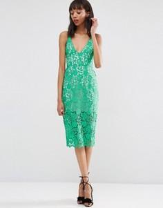 Платье-футляр миди из цветочного кружева ASOS - Зеленый