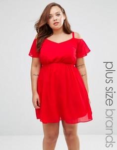 Короткое приталенное платье с открытыми плечами Praslin Plus - Красный