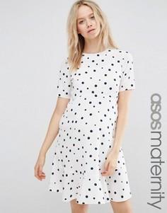 Свободное платье в горошек с оборкой по краю ASOS Maternity - Мульти