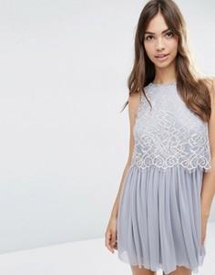 Приталенное платье для выпускного с кружевным кроп-топом ASOS - Серый