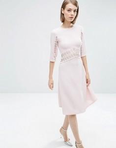 Короткое приталенное платье миди с кружевными вставками ASOS - Фиолетовый