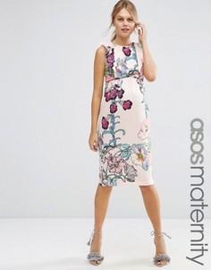 Платье-футляр с цветочным принтом и оборками ASOS Maternity - Мульти
