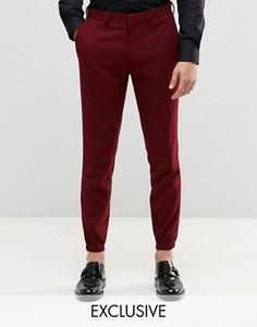 Зауженные брюки стретч с кромкой манжетом Only & Sons - Красный