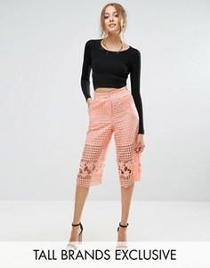 Юбка-шорты из сеточки и цветочного кружева True Decadence Tall - Розовый