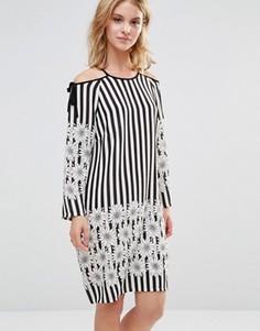Платье в полоску с цветочным принтом Style London - Черный