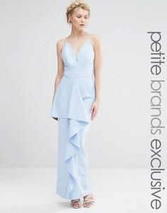 Платье макси на бретельках с оборкой спереди Jarlo Petite - Синий
