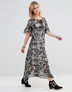 Платье макси с принтом пейсли и шнуровкой на лифе Style London - Черный