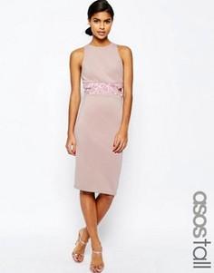 Облегающее платье миди с открытой спиной ASOS TALL - Розовый