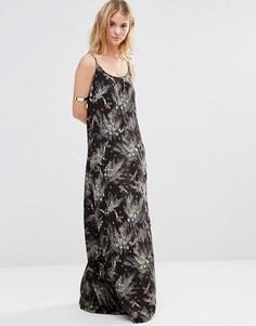 Платье макси с лесным принтом Style London - Черный