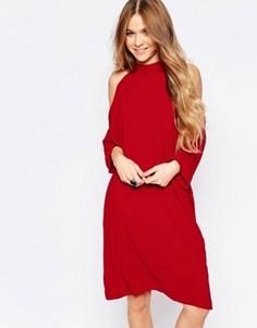 Oversize-платье миди с вырезами на плечах Liquorish - Красный