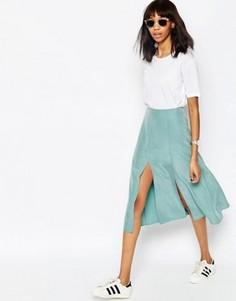 Мягкая юбка миди ASOS - Зеленый
