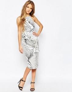 Платье с крокодиловым рисунком и завязкой Talulah - Белый