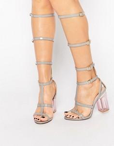 Серые сандалии-гладиаторы с прозрачным каблуком Public Desire Hattie - Серый