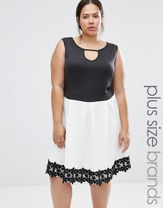 Короткое приталенное платье с отделкой кроше Praslin Plus - Черный