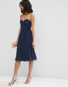 Шифоновое платье‑бандо миди ASOS WEDDING - Темно-синий
