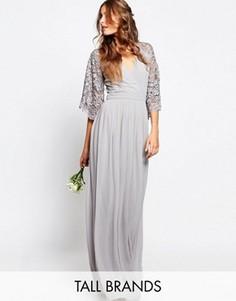 Плиссированное платье макси с кружевными рукавами и запахом Maya Tall - Серый