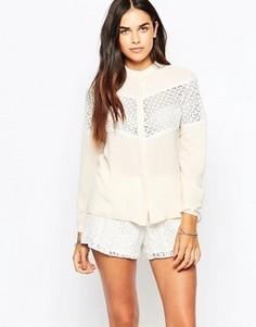 Блузка с кружевными вставками Goldie Make Amends - Бежевый