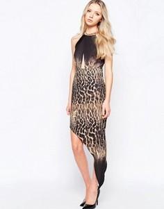 Асимметричное платье со звериным принтом и эффектом омбре Liquorish - Мульти