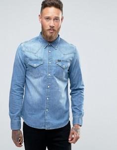 Выбеленная джинсовая рубашка слим в стиле вестерн Lee - Синий