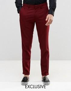 Стретчевые суперзауженные брюки с отворотами Only & Sons - Красный