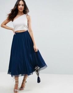 Многослойная юбка для выпускного из тюля ASOS - Темно-синий
