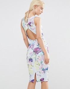 Платье-футляр с вырезом на спине и цветочным принтом Hope And Ivy - Синий