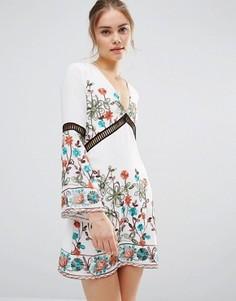 Платье с длинными рукавами и вышивкой Endless Rose - Белый