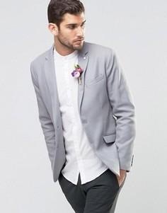Серый хлопковый пиджак Selected Wedding - Серый