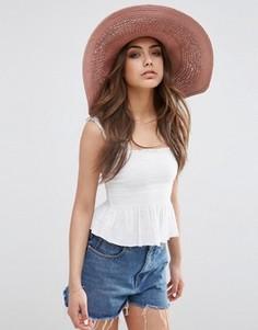 Соломенная шляпа со вставками кроше ASOS - Розовый