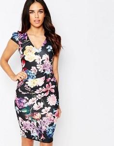 Платье-футляр с цветочным принтом и сборками Jessica Wright Abi - Мульти