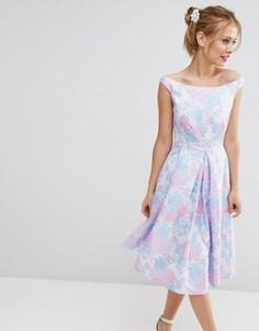 Жаккардовое платье миди для выпускного ASOS SALON - Фиолетовый