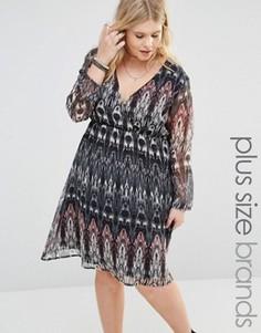 Платье размера плюс с длинными рукавами Diya - Мульти