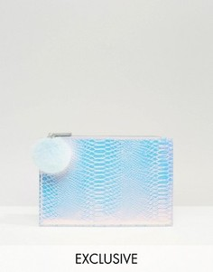 Маленький эксклюзивный клатч с помпоном переливающегося оттенка Skinnydip - Серебряный