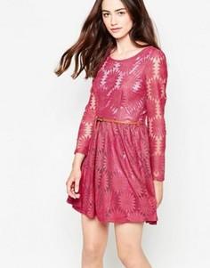 Платье из цветочного кружева с длинными рукавами Mela Loves London - Розовый