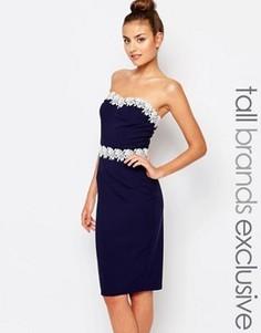 Платье-футляр с бандо и кружевной отделкой Paper Dolls Tall - Темно-синий