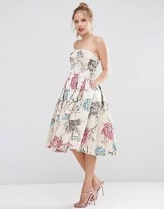 Жаккардовое платье миди для выпускного с лифом бандо ASOS SALON - Бежевый
