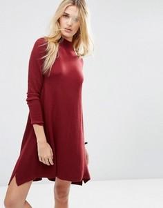 Трикотажное платье‑туника из кашемировой смеси ASOS - Красный